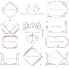 Set Of Isolated Art Deco Frames, Badges, Labels And Borders. Vector Illustration On White Background. Brown Vintage Ornaments, Graphic Elements. Thin Line Geometric Template For Design