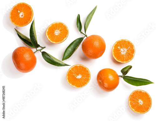 Orange or tangerine with leaves.