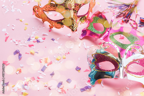 Table top view aerial image of beautiful colorful carnival mask or