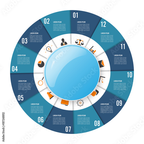 Papel de parede  Circle chart infographic template with 12 options for presentations, advertising