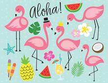 Cute Flamingo With Tropical Su...