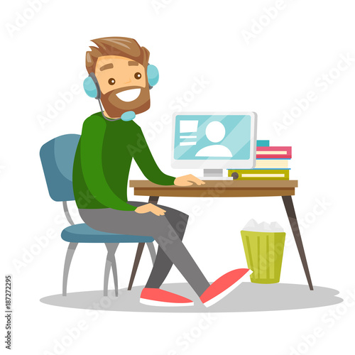 Caucasian white businessman using headset and computer in call center Poster