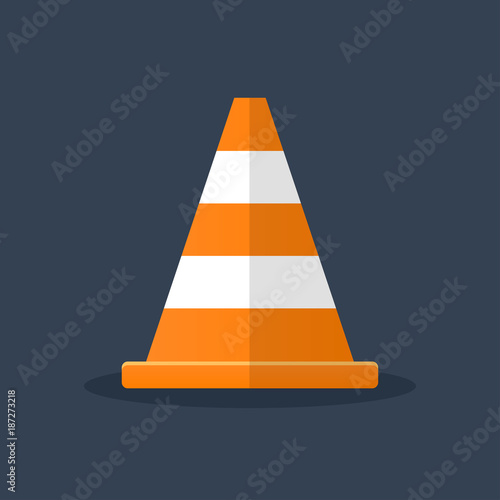Fotografie, Obraz  orange traffic cone flat design