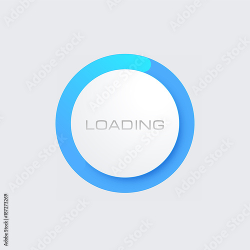 Blue Loading Bar for Web Interfaces. Template Wall mural