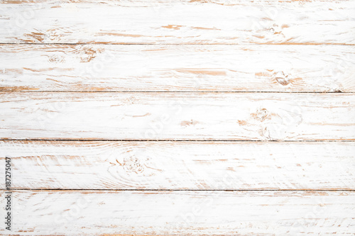 Poster Hout Vintage white wood background - Old weathered wooden plank painted in white color.