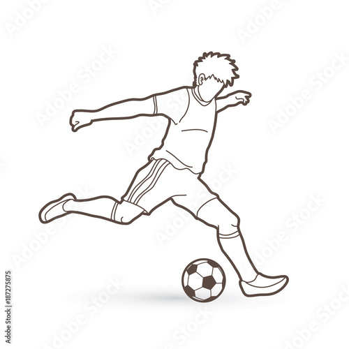 Valokuva  Soccer player running and kicking a ball action outline graphic vector