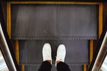 Selfie Of  Man Feet In White S...