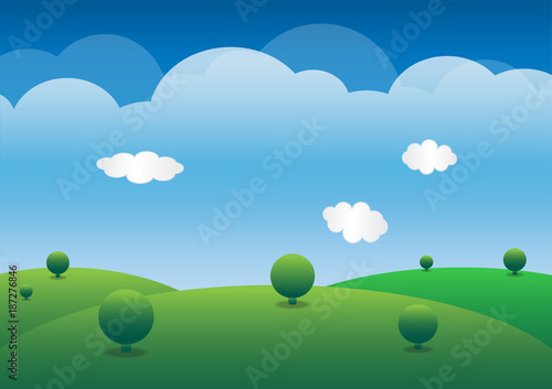 Foto op Canvas Lichtblauw Hills, lush green and sky background