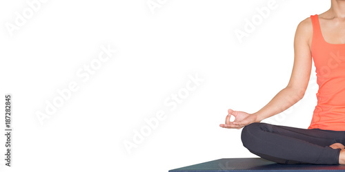 Fotografie, Obraz  Close up hands of master yoga seated doing Hand Mudra and meditates isolated white background