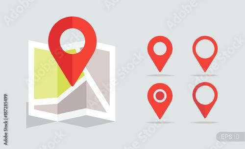 Nowa płaska mapa lokalizacji z czerwoną pinezką, etykietą i znacznikiem. Wektor EPS 10.