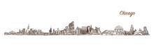 Skyline Of Chicago. Hand Drawn...