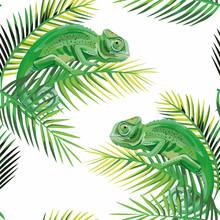 Seamless Pattern Chameleon On The Banana Leaves White Background