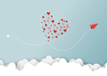 Paper Art Style Of Valentine's Day Greeting Card And Love Concept.Red Airplanes Flying Look Like Heart Shape On Clouds And Blue Sky.Vector Illustration.