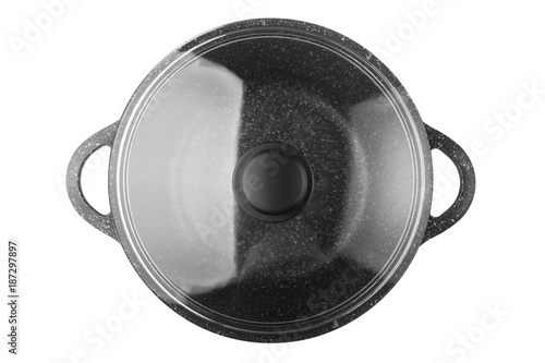 black pan, frying pan, glass cover, clipping path, isolated on white background