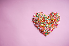 Candy Sprinkles In Form Of Heart