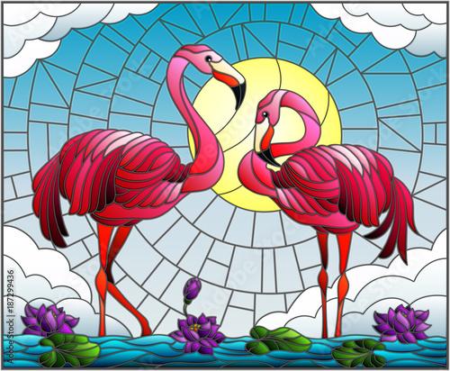 ilustracja-w-stylu-witrazu-z-para-flamingo-kwiaty-lotosu-i-trzciny-na-staw-w