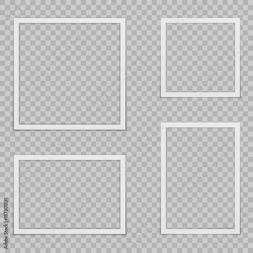 Fototapeta Set of blank photo frames with shadow. obraz na płótnie