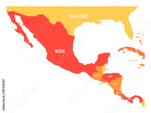 Political map of Central America and Mexico in four shades of orange Fototapet