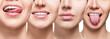 Leinwandbild Motiv Collage of smiling woman mouth with healthy teeth
