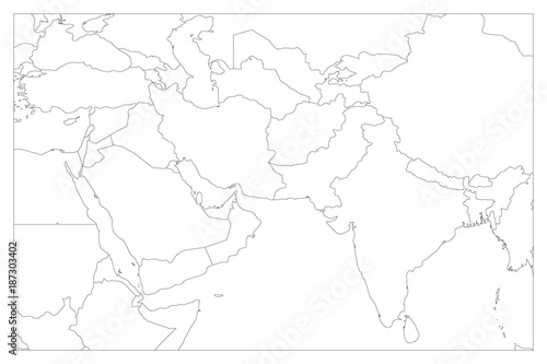 Political map of South Asia and Middle East countries ...