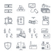 set of thin line icons business, finance, money, safe