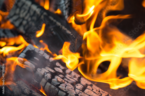 Recess Fitting Firewood texture Firewood burning in fire. Selective focus