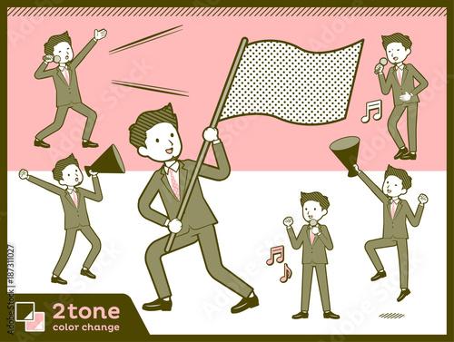 Poster 2tone type suit short hair beard men_set 7