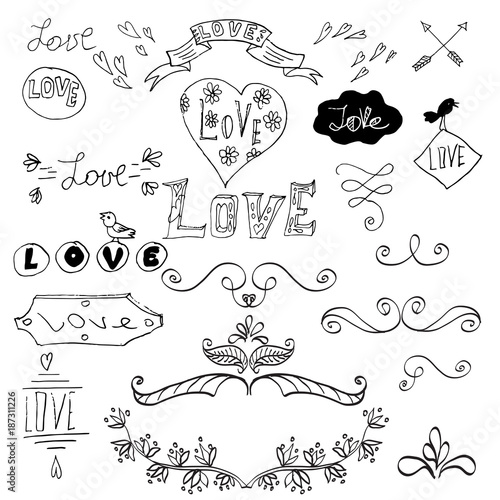 vector hand drawn collection of doodle elements hand drawn sketches