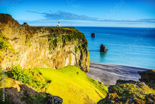 Poster Geel Beautiful scenic landscape of Icelandic nature.