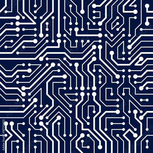 Circuit board seamless pattern, vector background  Microchip