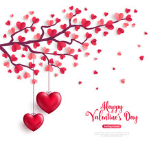 Valentine Tree With Heart Shap...