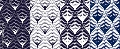 Abstract lines geometric seamless patterns set, vector repeat endless fabric backgrounds collection Canvas Print