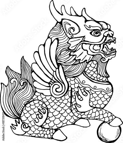 Obraz na plátně Illustration of cilin. Picture of a mythological creature