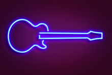 Neon Guitar Light Illustration...
