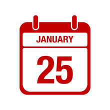 25 January Calendar Red Icon. ...