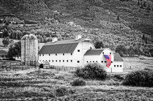Typical Vintage American Barn With American Flag, Park City, Utah - Black And White Photography, Selective Color.