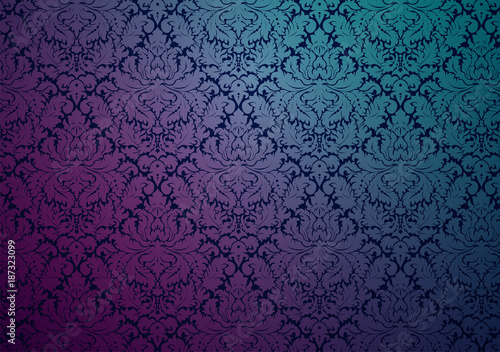 Vector damask wallpaper design, with the original pattern in the swatches palette. Seamless repetitive floral decoration with vintage color gradient.