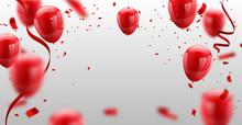 Red White Balloons, Confetti Concept Design Template Happy Valentine's Day, Background Celebration Vector Illustration.