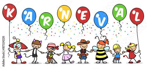 Poster Carnaval Gruppe Kinder beim Karneval feiern im Kostüm
