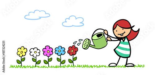 Kind Beim Blumen Giessen Im Garten Buy This Stock Illustration And