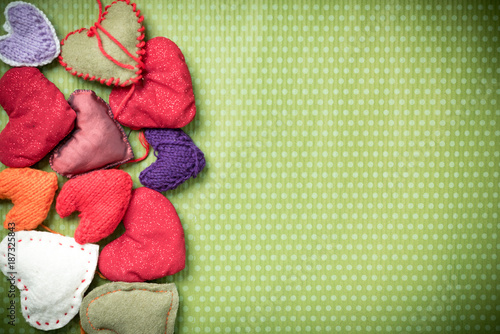 Valentines Day Colorful Knitted Hearts On A Vintage Background In
