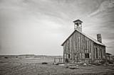 Stary drewniany kościół w pobliżu Moab, Utah - Fotografia czarno-biała - 187326243