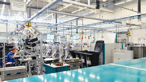 Fototapeta production and assembly of microelectronics in a hi-tech factory obraz na płótnie