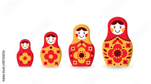 Set of matryoshka russian nesting dolls of different sizes, souvenir from Russia Wallpaper Mural