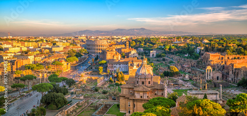Poster Rome Top view of Rome city skyline from Castel Sant'Angelo