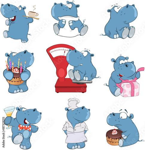 Papiers peints Chambre bébé Set of Cartoon Illustration. A Cute Hippo for you Design