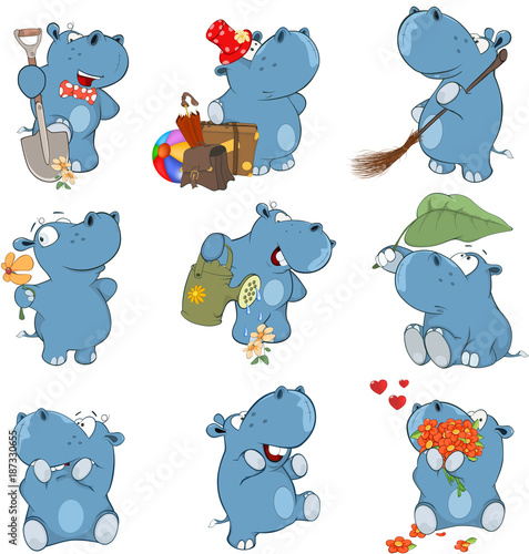 Foto auf AluDibond Babyzimmer Set o Cartoon Illustration. A Cute Hippo for you Design