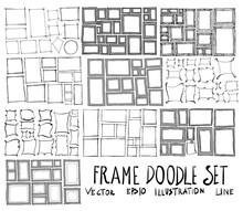 Set Of Frame Illustration Hand Drawn Doodle Sketch Line Vector Scribble Eps10