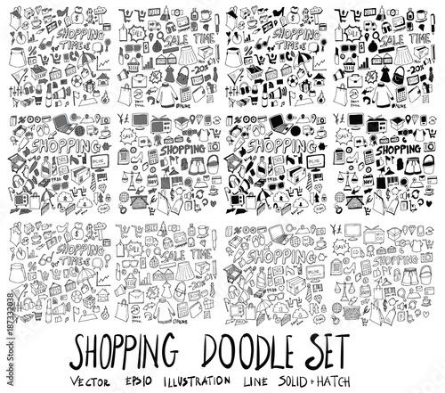 Fotografia  Set of Shopping illustration Hand drawn doodle Sketch line vector scribble eps10