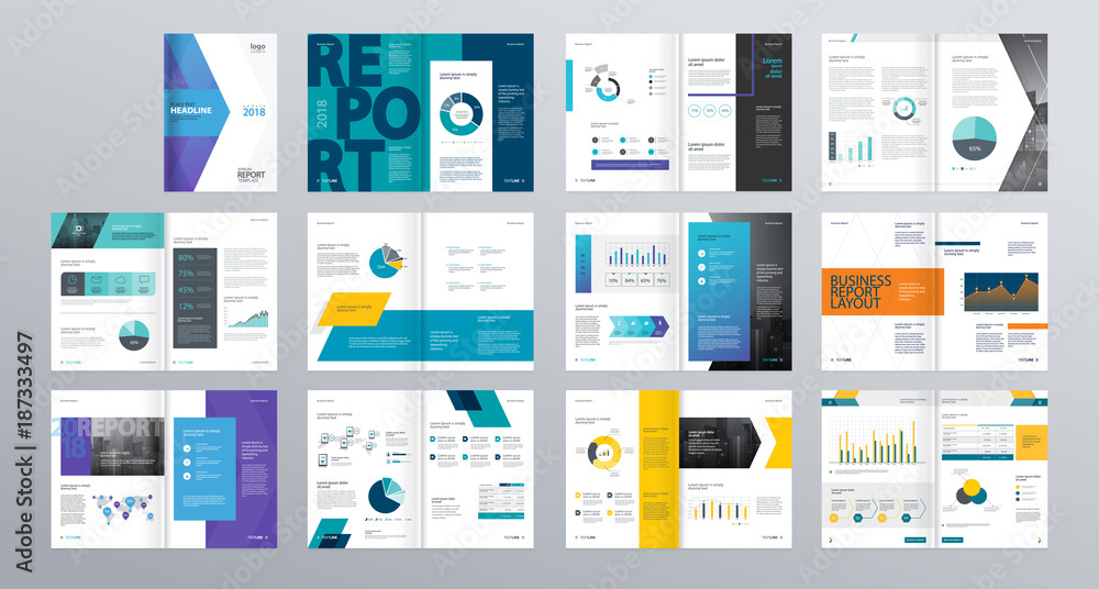 Fototapeta Design vector template layout for company profile ,annual report with cover, brochures, flyers, presentations, leaflet, magazine,book and  a4 size.